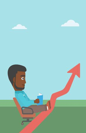 An african-american businessman sitting in a chair and reading a book while his legs lay on an uprising arrow. Business study concept. Vector flat design illustration. Vertical layout.