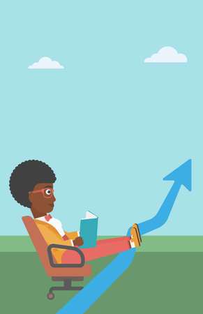 uprising: An african-american business woman sitting in a chair and reading a book while her legs lay on an uprising arrow. Business study concept. Business Vector flat design illustration. Vertical layout. Illustration
