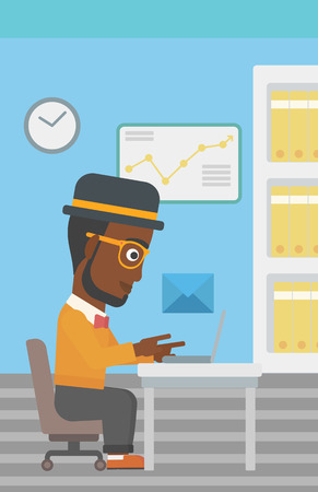 sending: An african-american businessman working on his laptop in office and receiving or sending email. Business technology, email concept. Vector flat design illustration. Vertical layout.