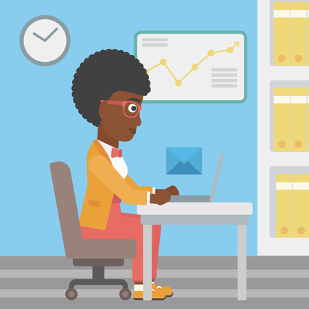 sending: An african-american young business woman working on her laptop in office and receiving or sending email. Business technology, email concept. Vector flat design illustration. Square layout.