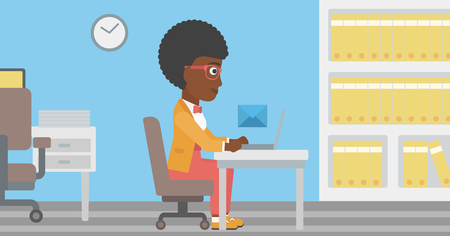 receiving: An african-american young business woman working on her laptop in office and receiving or sending email. Business technology, email concept. Vector flat design illustration. Horizontal layout.