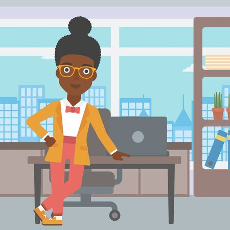 business woman standing: An african-american young business woman leaning on a table in the office. Young smiling business woman standing in the office. Vector flat design illustration. Square layout. Illustration