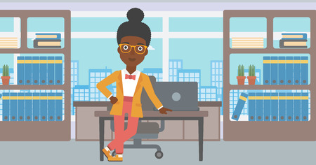 business woman standing: An african-american young business woman leaning on a table in the office. Young smiling business woman standing in the office. Vector flat design illustration. Horizontal layout.