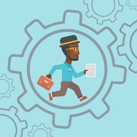 businessman running: An african-american businessman running with a briefcase and a document inside the gear. Concept of stress in business. Vector flat design illustration. Square layout.