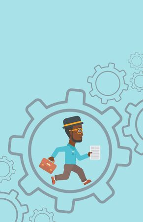 businessman running: An african-american businessman running with a briefcase and a document inside the gear. Concept of stress in business. Vector flat design illustration. Vertical layout.