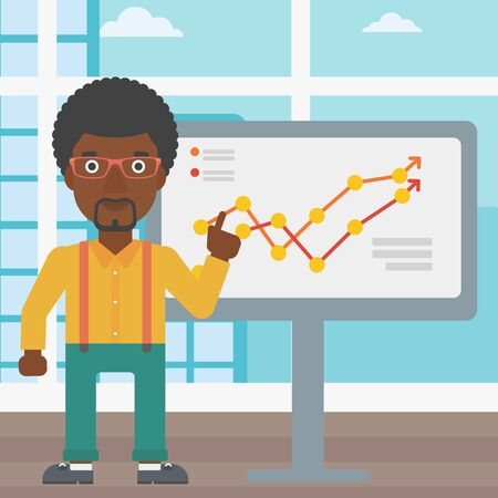 An african-american businessman pointing at charts on a board during business presentation. Businessman giving business presentation. Vector flat design illustration. Square layout.