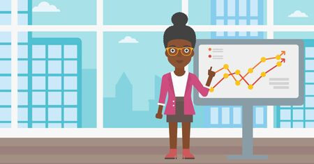 An african-american young business woman pointing at charts on a board during business presentation. Business woman giving a business presentation. Vector flat design illustration. Horizontal layout.