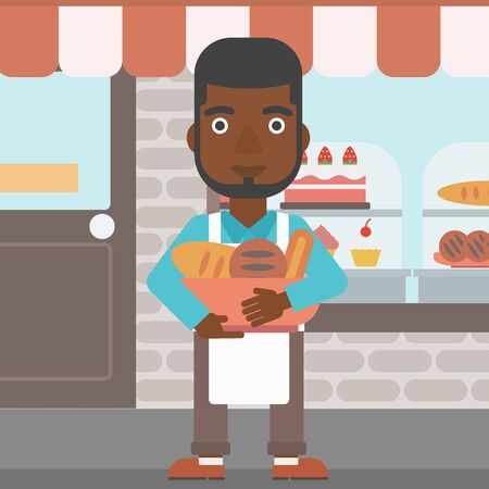 bakery store: An african-american baker holding basket with bakery products. Baker standing in front of bakery. Baker with bowl full of bread. Vector flat design illustration. Square layout.