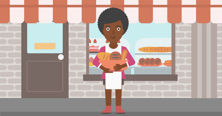 bakery products: An african-american young female baker holding basket with bakery products. Female baker standing in front of bakery. Baker with bowl full of bread. Vector flat design illustration. Horizontal layout.