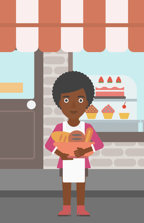 bakery products: An african-american young female baker holding basket with bakery products. Female baker standing in front of bakery. Baker with bowl full of bread. Vector flat design illustration. Vertical layout.
