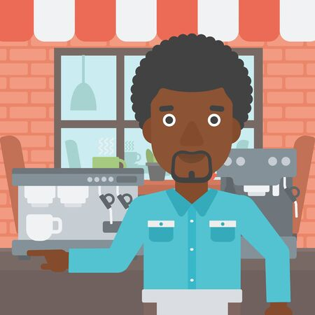 barista: An african-american barista sanding in front of coffee machine. Barista at coffee shop. Barista making a cup of coffee. Vector flat design illustration. Square layout. Illustration