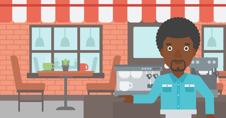 barista: An african-american barista sanding in front of coffee machine. Barista at coffee shop. Barista making a cup of coffee. Vector flat design illustration. Horizontal layout. Illustration