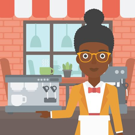 barista: An african-american young female barista sanding in front of coffee machine. Barista at coffee shop. Professional barista making a cup of coffee. Vector flat design illustration. Square layout. Illustration