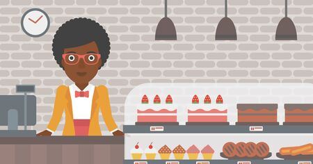 bakery store: An african-american female bakery worker offering different pastry. A bakery worker standing behind the counter with cakes at the bakery. Vector flat design illustration. Horizontal layout.