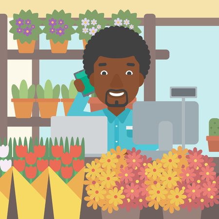 small business computer: An african-american florist using telephone and laptop to take orders. A florist standing behind the counter at flower shop. Vector flat design illustration. Square layout.