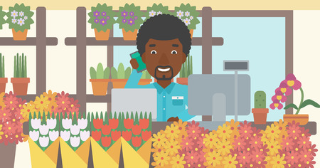 small business computer: An african-american florist using telephone and laptop to take orders. A florist standing behind the counter at flower shop. Vector flat design illustration. Horizontal layout.