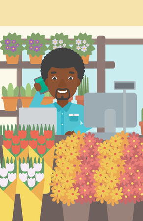 small business computer: An african-american florist using telephone and laptop to take orders. A florist standing behind the counter at flower shop. Vector flat design illustration. Vertical layout.