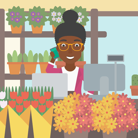 small business computer: An african-american female florist using telephone and laptop to take orders for flower shop. A florist standing behind the counter at flower shop. Vector flat design illustration. Square layout.
