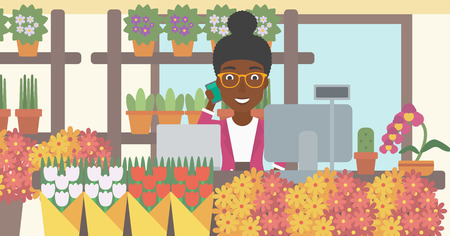 small business computer: An african-american female florist using telephone and laptop to take orders for flower shop. A florist standing behind the counter at flower shop. Vector flat design illustration. Horizontal layout. Illustration