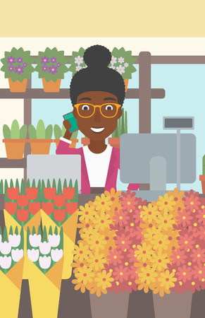 small business computer: An african-american female florist using telephone and laptop to take orders for flower shop. A florist standing behind the counter at flower shop. Vector flat design illustration. Vertical layout.