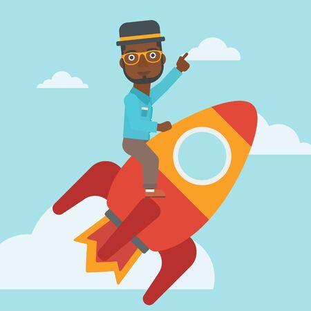 forefinger: An african-american businessman flying on the business start up rocket and pointing his forefinger up. Successful business start up concept. Vector flat design illustration. Square layout. Illustration
