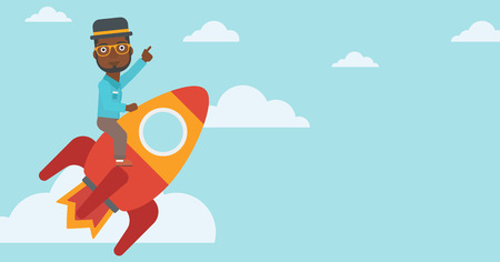 forefinger: An african-american businessman flying on the business start up rocket and pointing his forefinger up. Successful business start up concept. Vector flat design illustration. Horizontal layout. Illustration
