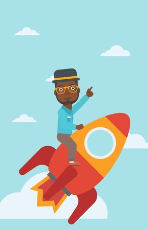 forefinger: An african-american businessman flying on the business start up rocket and pointing his forefinger up. Successful business start up concept. Vector flat design illustration. Vertical layout. Illustration