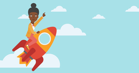 forefinger: An african-american business woman flying on the business start up rocket and pointing forefinger up. Successful business start up concept. Vector flat design illustration. Horizontal layout.