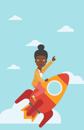 woman pointing up: An african-american business woman flying on the business start up rocket and pointing forefinger up. Successful business start up concept. Vector flat design illustration. Vertical layout.