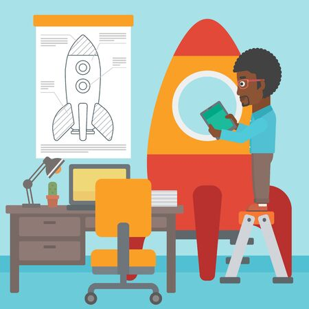 engeneering: An african-american man standing on ladder and engeneering a rocket. Business start up concept. Vector flat design illustration. Square layout.
