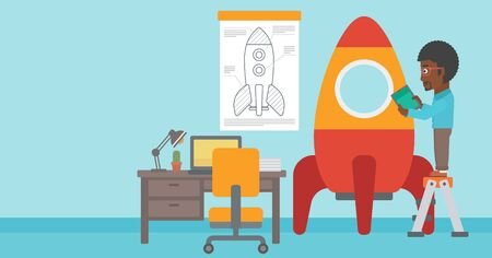 engeneering: An african-american man standing on ladder and engeneering a rocket. Business start up concept. Vector flat design illustration. Horizontal layout. Illustration