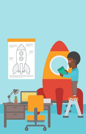 engeneering: An african-american man standing on ladder and engeneering a rocket. Business start up concept. Vector flat design illustration. Vertical layout.