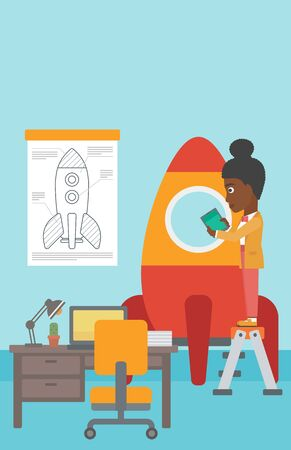 engeneering: An african-american woman standing on ladder and engeneering a rocket. Woman working on the start up of a new business. Business start up concept. Vector flat design illustration. Vertical layout.