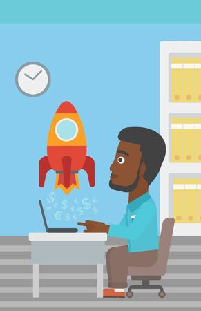 An african-american businessman sitting at the table and looking at a business start up rocket taking off. Business start up concept. Vector flat design illustration. Vertical layout.