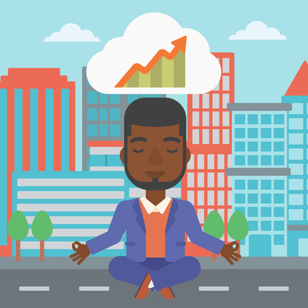 lotus pose: An african-american businessman with eyes closed doing yoga and meditating in lotus pose outdoor and thinking about the growth graph.Vector flat design illustration. Square layout.