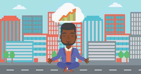lotus pose: An african-american businessman with eyes closed doing yoga and meditating in lotus pose outdoor and thinking about the growth graph.Vector flat design illustration. Horizontal layout.