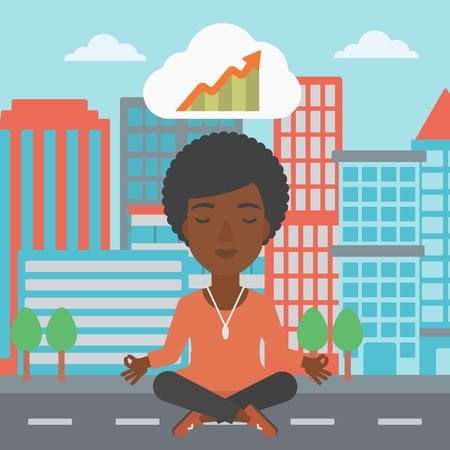 lotus pose: An african-american business woman with eyes closed doing yoga and meditating in lotus pose outdoors and thinking about the growth graph. Vector flat design illustration. Square layout.