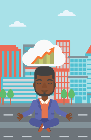 lotus pose: An african-american businessman with eyes closed doing yoga and meditating in lotus pose outdoor and thinking about the growth graph.Vector flat design illustration. Vertical layout.