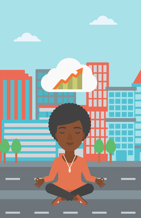 eyes closed: An african-american business woman with eyes closed doing yoga and meditating in lotus pose outdoors and thinking about the growth graph. Vector flat design illustration. Vertical layout. Illustration