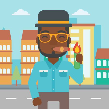 successful businessman: An african-american businessman lighting a cigar with dollar bill. A successful businessman smoking a cigar on the background of modern city. Vector flat design illustration. Square layout.