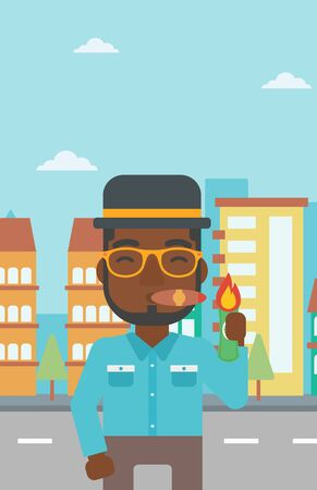 successful businessman: An african-american businessman lighting a cigar with dollar bill. A successful businessman smoking a cigar on the background of modern city. Vector flat design illustration. Vertical layout.