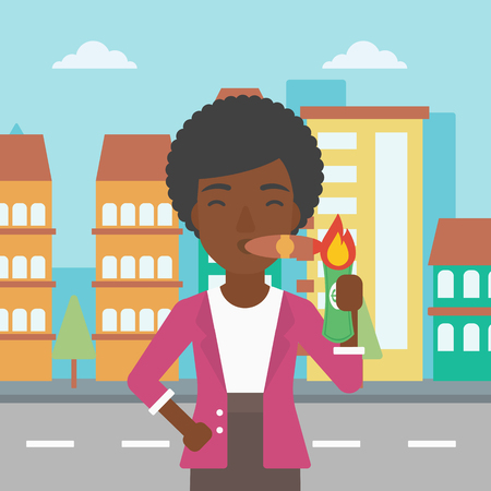 cigar smoking woman: An african-american business woman lighting a cigar with dollar bill. Successful business woman smoking cigar on the background of modern city. Vector flat design illustration. Square layout.