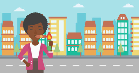 An african-american business woman lighting a cigar with dollar bill. Successful business woman smoking cigar on the background of modern city. Vector flat design illustration. Horizontal layout.