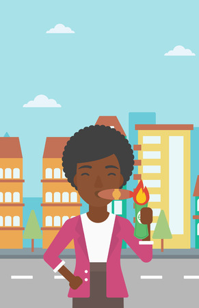 cigar smoking woman: An african-american business woman lighting a cigar with dollar bill. Successful business woman smoking cigar on the background of modern city. Vector flat design illustration. Vertical layout.