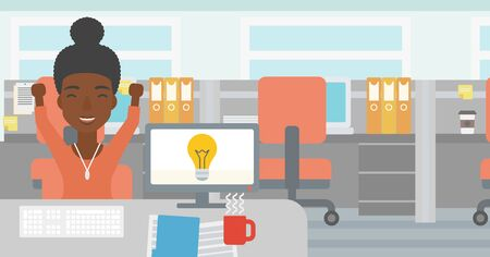 woman arms up: An african business woman with arms up having business idea. Woman working on a computer with business idea bulb on a screen. Business idea concept. Vector flat design illustration. Horizontal layout.