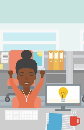 african business: An african business woman with arms up having business idea. Woman working on a computer with business idea bulb on a screen. Business idea concept. Vector flat design illustration. Vertical layout.