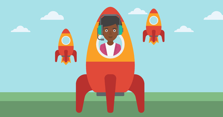 An african-american business woman in headphones flying in the rocket. Successful business start up concept. Business rocket taking off. Vector flat design illustration. Horizontal layout.
