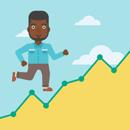 businessman running: An african-american businessman running along the growth graph. Businessman going up. Successful business concept. Vector flat design illustration. Square layout.