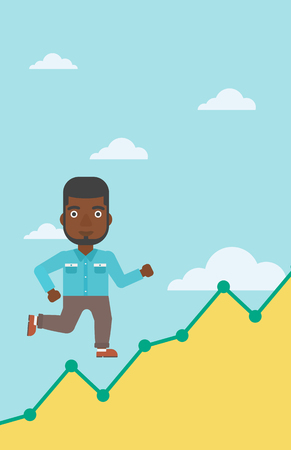 businessman running: An african-american businessman running along the growth graph. Businessman going up. Successful business concept. Vector flat design illustration. Vertical layout.