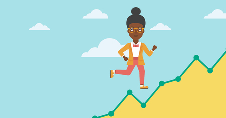 moving up: An african-american business woman running along the growth graph. Businesswoman going up. Woman moving up. Successful business concept. Vector flat design illustration. Horizontal layout. Illustration